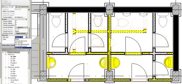 Revit Architecture Faze Resp Rekonstrukce Vynaseni Stavajicich
